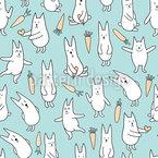 Glückliche Kaninchen Nahtloses Vektormuster