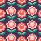 Niedlich Stilisierte Blüte Nahtloses Vektormuster