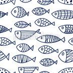 Doodle Fischschwarm Designmuster