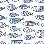 Doodle Fish Swarm Seamless Vector Pattern Design