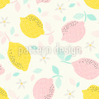 Graphical Citrus Fruits and Blooms Pattern Design