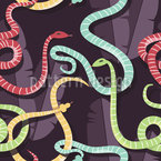 Friendly Snakes Seamless Vector Pattern Design