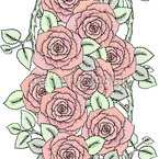 Cute Wreath Of Roses Seamless Pattern