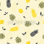 Tropical Fruits and monstera leaves Repeating Pattern
