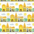 Amor de cidade pequena Design de padrão vetorial sem costura