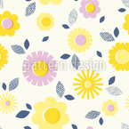 Floral Stamp Seamless Vector Pattern