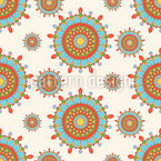 Retro Mandala Circus Seamless Vector Pattern Design