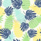 Ananas und Monstera-Blätter Nahtloses Vektormuster