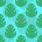 Zwei Schichten Tropische Blätter Nahtloses Vektormuster