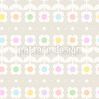 Cute Retro Flower And Dots Repeat Pattern