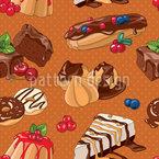 Liebliche Desserts Nahtloses Muster