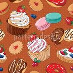 Verliebt in Desserts Nahtloses Vektor Muster