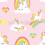 Rainbow Unicorns Seamless Vector Pattern