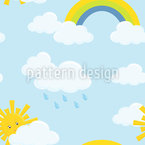 Cloudy Rainbow Sky Vector Ornament