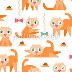 Verspielte Kätzchen Nahtloses Vektormuster