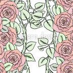 Rosen Auf Zweigen Nahtloses Vektormuster