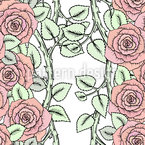 Roses On Branches Seamless Pattern