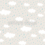Rainclouds And Raindrops Seamless Vector Pattern
