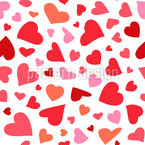 Flying Hearts Vector Pattern