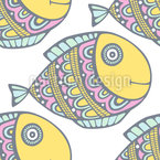 Doodle Fishes Vector Pattern