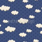 Stars And Puffy Clouds Repeating Pattern