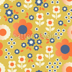 Blossoms Grid Seamless Vector Pattern Design