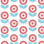 Delicate Round Flowers Seamless Vector Pattern