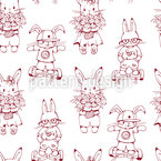 Bunnies On Hoverboards Pattern Design