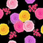 Abstract Roses in Vintage Style Pattern Design