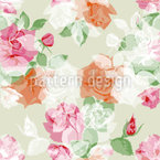 Stamp Roses Seamless Vector Pattern Design