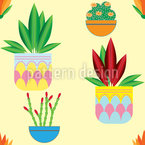 Potted Plants  Seamless Vector Pattern Design