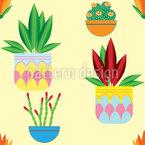 Topfpflanzen Nahtloses Vektormuster
