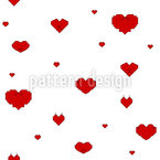 Stylized Pixelated Hearts Seamless Pattern