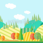 Autumn Landscape In Flat-Design Repeat Pattern