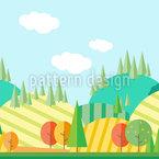 Herbstlandschaft im Flach-Design Rapportmuster