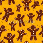 Christmas Gingerbreadman Seamless Vector Pattern Design