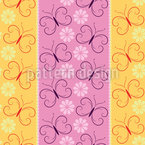 Striped with butterflies and blossoms Pattern Design