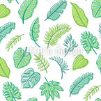 Tropical Hand-drawn Leaves Seamless Vector Pattern Design