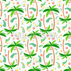 Tropical Trees Seamless Vector Pattern Design