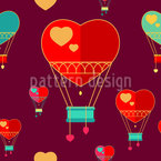 Romantik Balloons Seamless Vector Pattern Design