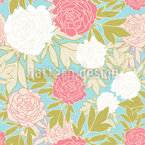 Peony Sea Seamless Vector Pattern Design