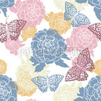 Peony And Butterflies Seamless Pattern