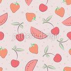 Früchte Und Polka Dot Nahtloses Vektormuster