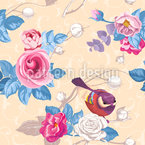 Tweeting Roses Seamless Vector Pattern Design