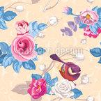 Zwitschernde Rosen Nahtloses Vektormuster