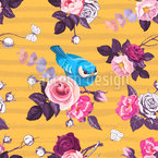 Birds In Rose Garden Seamless Vector Pattern Design