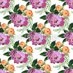 Peonies Bouquets Seamless Vector Pattern Design