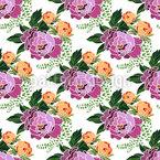 Pfingstrosen Blumensträuße Nahtloses Vektormuster