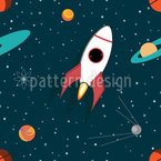 Spacecraft Seamless Vector Pattern Design