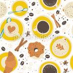 Kaffee Von Oben Nahtloses Vektormuster